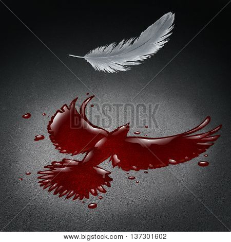 Security crisis concept as blood on a street shaped as a flying peace dove with a white feather falling down as a violence and war metaphor for society tragedy and global disaster with victims in a 3D illustration style.