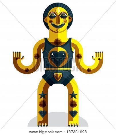 Spiritual totem vector illustration meditation theme drawing. Anthropomorphic character mystic idol isolated on white.