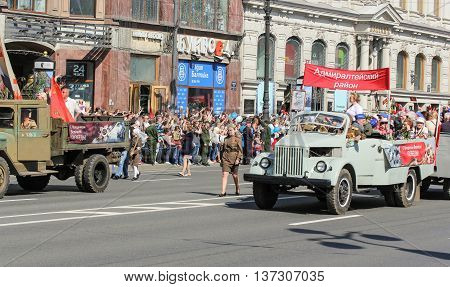 St. Petersburg, Russia - 9 May, Soviet trucks wartime, 9 May, 2016. Memory Action