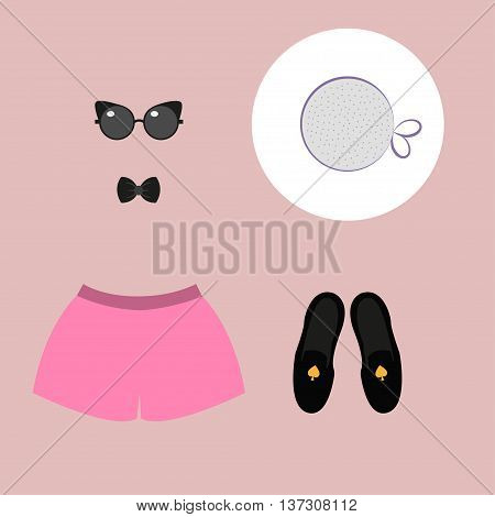 Fashion still life. Vector illustration Still life of stylish clothes: pink shorts, white hat, sunglasse, bow tie, black shoes. Modern fashion. Flat design top viewn still life. Vector illustration