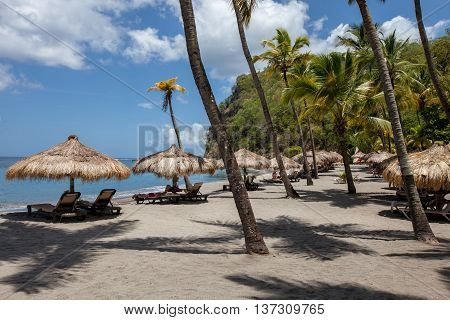 Grass Umbrellas With Chairs On A Caribbean Beach On The Tropical Island Of St Lucia