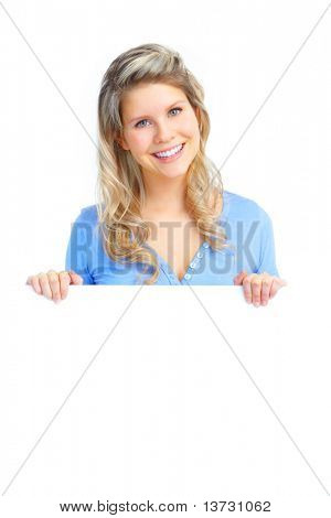 Young happy woman holding a white plackard