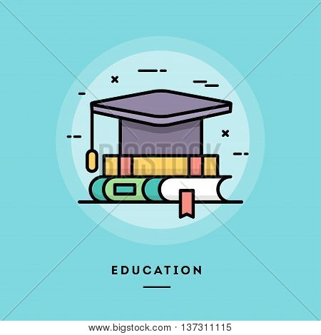 Education flat design thin line banner usage for e-mail newsletters web banners headers blog posts print and more