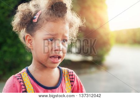 Beautiful Sad Little Girl Crying