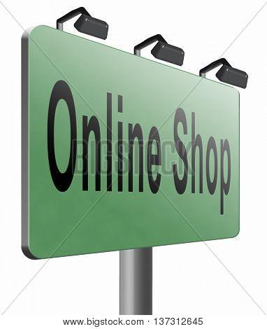 Online shopping internet web shop webshop, road sign billboard, 3D illustration, isolated, on white