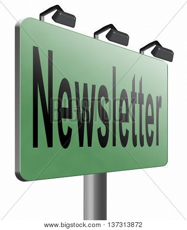 newsletter latest news bulletin hot breaking and latest news icon, 3D illustration, isolated, on white