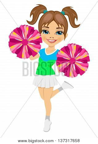 little cheerleader holding pompoms isolated on white background