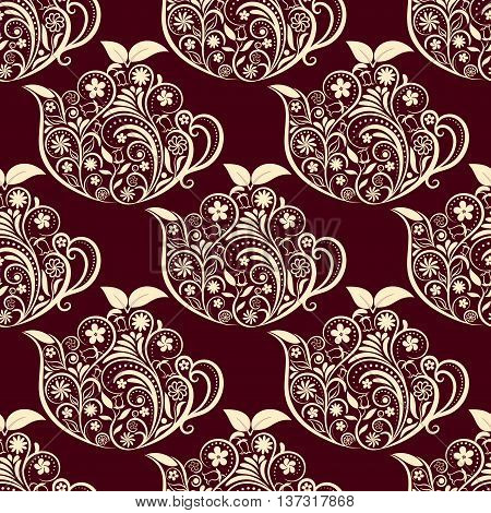 Vector Seamless Floral Teapot Pattern. Seamless pattern for your design, invitation card, menu, cafe, bar and other food and drink wrapped projects. Fabric Teapot Pattern. Pattern in swatches panel.