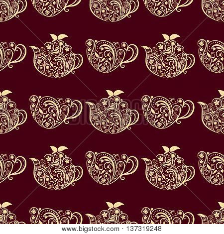 Vector Seamless Floral Teapot and Cup Pattern. Seamless pattern for your design, invitation card, menu, cafe, bar and other food and drink wrapped projects. Fabric Teapot Pattern. Pattern in swatches panel.