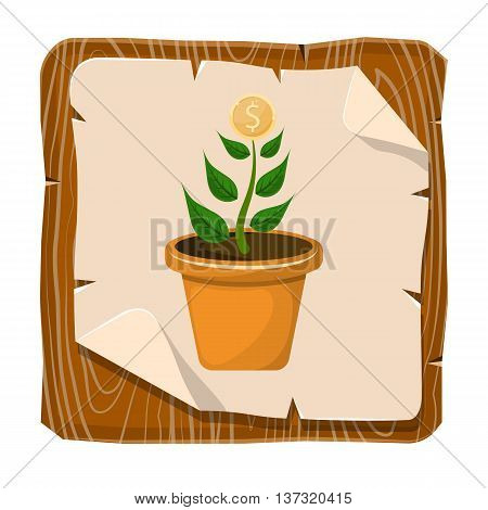 Dollar plant colorful icon. Vector illustration in cartoon style