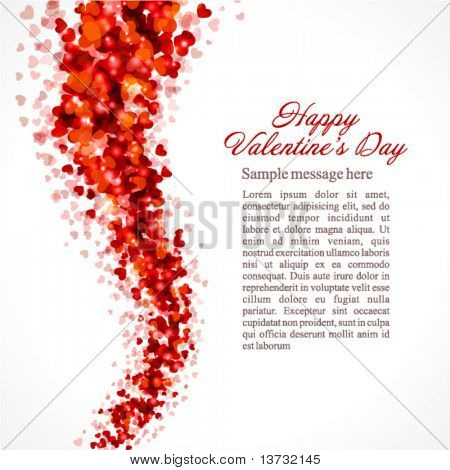 Red hearts confetti fly Valentine's day vector background