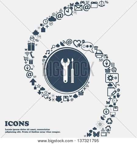 Repair Tool Sign Icon. Service Symbol. Screwdriver With Wrench In The Center. Around The Many Beauti