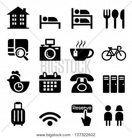 Hostel & Hotel icon set Vector illustration Graphic design