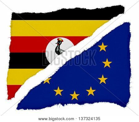 Ugandan And Eu Flag Torn Paper Scraps Isolated On White Background