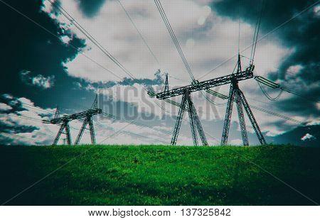 Horizontal dark digital pixel dot point cyberpunk power lines background