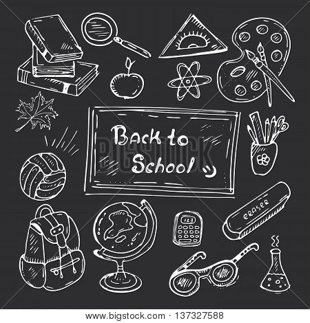 Back to school hand-drawn doodle set. Black and white vector illustration of school supplies. Icons for classrooms websites and mobile.