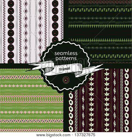 Set of Primal seamless green patterns. Vector illustration. Primal hand-drawn doodle pattern design for web mobile print and textile.