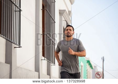 Male Runner Working Out In The City
