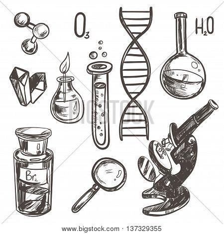 Hand drawn science beautiful vintage lab icons sketch set . Vector illustration. Science lab objects doodle style sketch. Back to school.