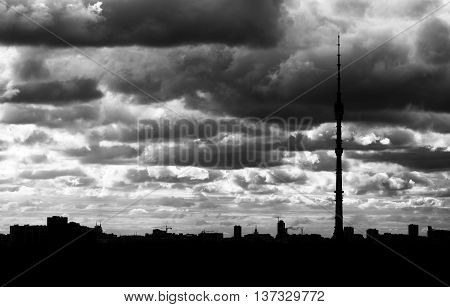 Black and white Moscow television tower silhouette background