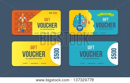 Gift voucher template. Collection gift certificate business card, banner, calling card, poster. Discount coupon. Special offer