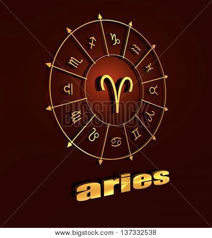 Ram astrology sign. Golden astrological symbol in the circle of others sings. 3D rendering