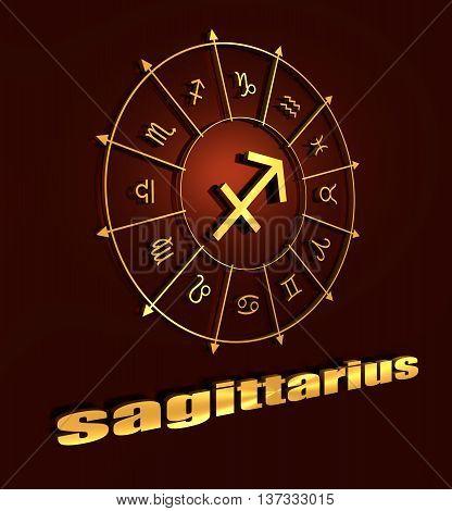 Archer astrology sign. Golden astrological symbol. 3D rendering