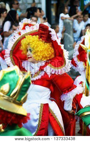Montenegro, Herceg Novi - 04/06/2016: Clown in colorful fancy dress. 10 International Children's Carnival