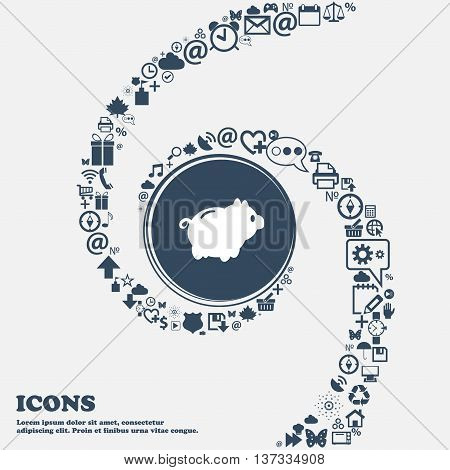 Piggy Bank Sign Icon In The Center. Around The Many Beautiful Symbols Twisted In A Spiral. You Can U