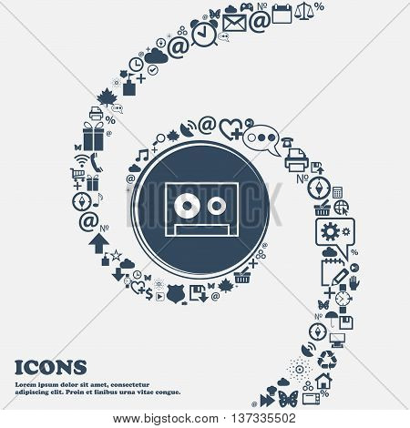 Cassette Sign Icon. Audiocassette Symbol In The Center. Around The Many Beautiful Symbols Twisted In