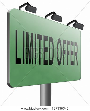 limited offer edition or stock webshop icon or web shop sign , 3D illustration, isolated, on white