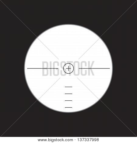 View in sight. Aim. Type in the optical sight with shadow. Vector illustration.