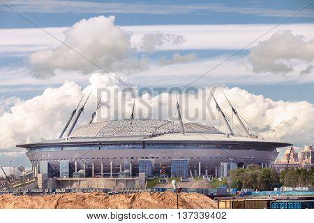 SAINT PETERSBURG, RUSSIA - JUNE 10, 2016: Zenit or Gazprom Arena football modern stadium under construction on Krestovsky island