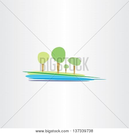 Landscape River And Trees Vector Design