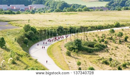British Army soldiers from Battlesbury Barracks training. Troops running in countryside near Warminster on the edge of Salisbury Plain. Probably Yorkshire Regiment.