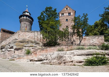 Nurnberg Bavaria / Germany - July 18th 2014: Nurnberg defensive city wall section