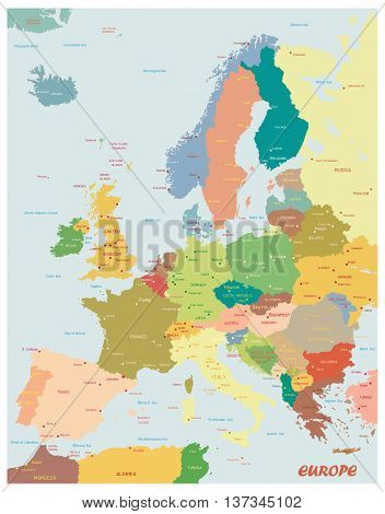 Original map of Europe.Original map of Europe.