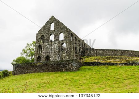 Ruin of the Pont y Pandy slate processing mill. Snowdonia North Wales United Kingdom