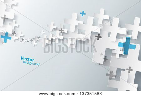 Abstract background created with plus sign. Vector art