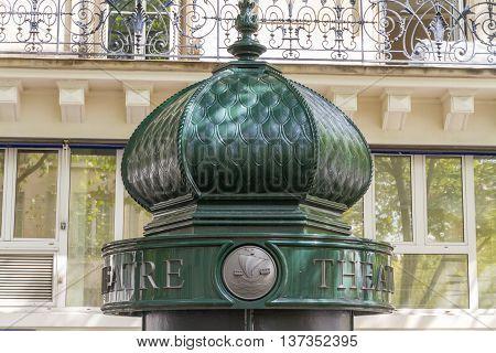 Upper part of morris or advertising column in Paris France