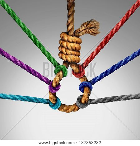 Suicide prevention support and group intervention symbol as a rope shaped in a suicidal noose with a group of diverse ropes preventing the danger by pulling the knot open as a mental health symbol for helping vulnerable patients.