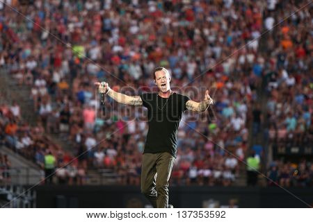NASHVILLE-JUL 11: Country recording artist Tyler Hubbard of Florida Georgia Line performs during Luke Bryan's 'Kick The Dust Up' Tour at Vanderbilt Stadium on July 11, 2015 in Nashville, Tennessee.