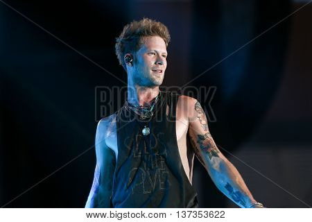 NASHVILLE-JUL 11: Country recording artist Brian Kelley of Florida Georgia Line performs during the 'Kick The Dust Up' Tour at Vanderbilt Stadium on July 11, 2015 in Nashville, Tennessee.