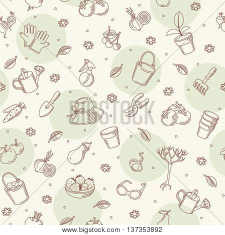 Vector seamless backgroung of hand drawn garden tools vegetables and fruits. It can be used for wallpaper pattern fills web page background surface textures decoration for bags and clothes.
