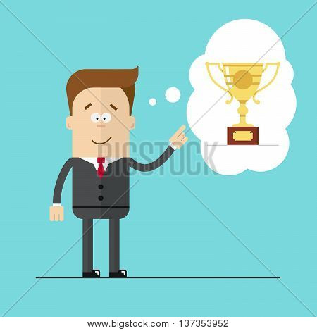 Happy businessman specifies hand on the award . Thoughts the Cup. Hight quality vector illustrarion.