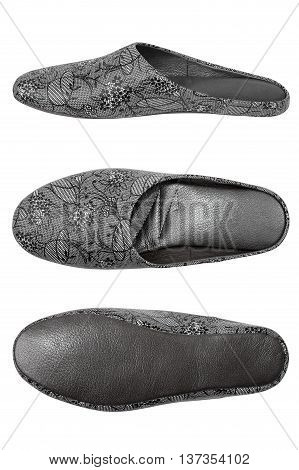 Three views of gray leather women's slippers isolated on white background: side top and bottom shot