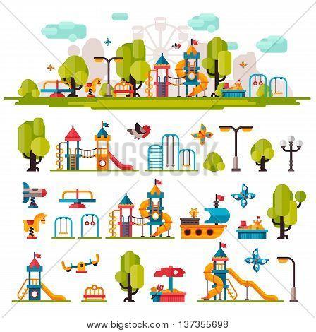 Children playground. Swings sandpit sandbox bench tree tower children slide. Kids playground flat stock illustration with isolated elements on white background.