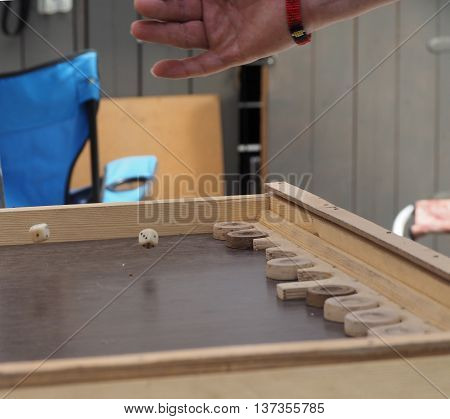 Roll the dice in the backgammon game