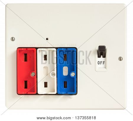 Old Fuse box with fuses removed isolated on white with clipping path