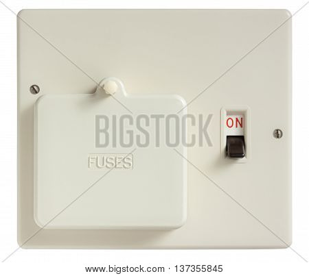 Old Fuse box switched on isolated on white with clipping path